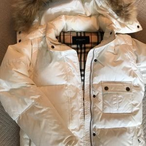 Burberry London puffer jacket.  White. Hooded.
